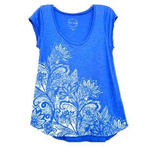 Lucky Brand graphic tee blue white size XS